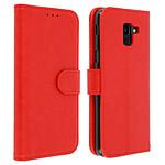 Avizar Etui folio Rouge Portefeuille pour Samsung Galaxy J6
