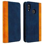 Avizar Etui folio Bleu Nuit Éco-cuir pour Huawei P20 Lite