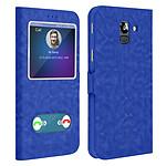 Avizar Etui folio Bleu à fenêtre pour Samsung Galaxy J6