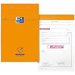 Oxford bloc message agrafé 110 x 170 mm 80 feuilles 80g orange