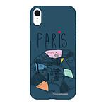 LA COQUE FRANCAISE Coque iPhone Xr Silicone Liquide Douce bleu marine Plan de Paris