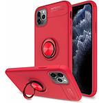 Lapinette Coque Gel avec Bague a Selfie 360 Degrés Pour Apple iPhone 11 Pro Max Rouge
