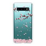 EVETANE Coque Samsung Galaxy S10 360 intégrale transparente Chute De Fleurs