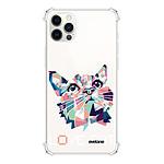 EVETANE Coque iPhone 12/12 Pro anti-choc souple angles renforcés transparente Cat pixels