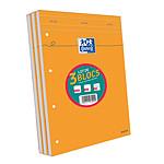 Oxford lot 2+1 blocs agrafés perforés 210x315 80g 80 feuilles seyès couverture orange
