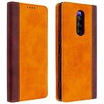 Avizar Etui folio Camel Éco-cuir pour Sony Xperia 1