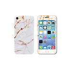 EVETANE Coque silicone intégrale avec vitre de protection effet marbre pour iPhone 7 - Or