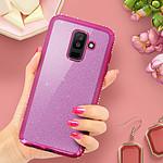 Avizar Coque Rose Design pailleté pour Samsung Galaxy A6 Plus
