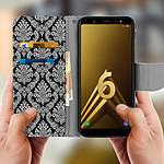 Avizar Etui folio Noir Éco-cuir pour Samsung Galaxy A6 Plus