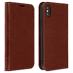 Avizar Etui folio Marron Cuir véritable pour Apple iPhone XS Max