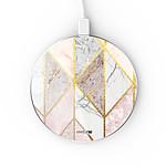 EVETANE Chargeur Induction contour argent blanc Marbre Rose Losange
