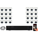 EC-VISION Kit vidéo surveillance IP 24 caméras dômes POE 5 MegaPixels Auto-Zoom x5