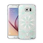EVETANE Coque Samsung Galaxy S6 Edge rigide transparente Mandala Turquoise