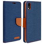 Avizar Etui folio Bleu Nuit Tissu pour Apple iPhone XR