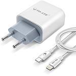 Avizar Chargeur secteur Blanc pour Smartphones et tablettes dotés d'une connectique Lightning