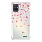 EVETANE Coque Samsung Galaxy A71 anti-choc souple avec angles renforcés transparente Coeurs en confettis