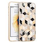 LA COQUE FRANCAISE Coque souple paillettes iPhone 7/8/ iPhone SE 2020 paillettes or Carrés marbre