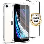 EVETANE Coque iPhone 7/8 Antichoc Silicone + 2 Vitres en verre trempé Protection écran ultra résistant