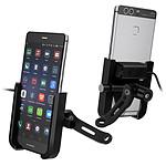 Avizar Support Téléphone Moto Chargeur USB Fixation Rétroviseur Système Mécanique Noir
