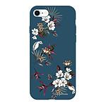 LA COQUE FRANCAISE Coque iPhone 7/8/ iPhone SE 2020 Silicone Liquide Douce bleu marine Fleurs Sauvages