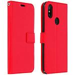 Avizar Etui folio Rouge Éco-cuir pour Xiaomi Mi A2