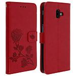 Avizar Etui folio Rouge Rosier pour Samsung Galaxy J6 Plus