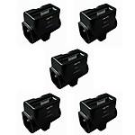 Zenitech-Lot de 5 triplites 2x 16A + 1x6A avec chargeur 1 prise USB + dock iPhone - iPod - Noir Gloss