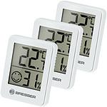 Bresser Lot De 3 Thermomètres Et Hygromètres Avec Affichage Lcd Blanc BRE_7000010-WH
