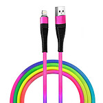 Câble iPhone, iPad, iPod Charge Synchronisation Design Stylé Robuste Multicolore