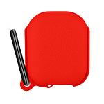Étui Boitier Airpods 1 et 2 Protection Silicone Mousqueton intégré - rouge