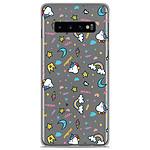1001 Coques Coque silicone gel Samsung Galaxy S10 motif Licorne rainbow