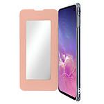 Avizar Etui folio Rose Champagne Miroir pour Samsung Galaxy S10e