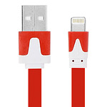 Avizar Câble Plat 3m Rouge USB Compatible iPhone iPad iPod Charge et Synchronisation