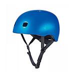 Micro Casque Vélo et Trottinette Bleu foncé brillant lumière LED intégrée Taille M