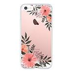 EVETANE Coque iPhone 5/5S/SE souple transparente Fleurs roses