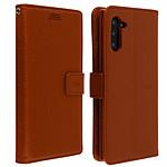 Avizar Etui folio Marron Éco-cuir pour Samsung Galaxy Note 10