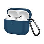 Coque AirPods Pro Souple Anti-traces Anti-rayures avec Mousqueton bleu nuit