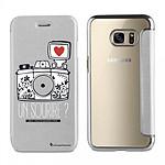 LA COQUE FRANCAISE Etui Samsung Galaxy S6 Edge Plus souple argent Un sourire
