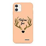 EVETANE Coque iPhone 11 Silicone Liquide Douce rose pâle Cerf Moi Fort