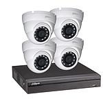 Dahua Kit vidéosurveillance enregistreur éco et 4 caméras dôme 1080p