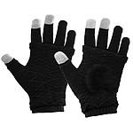 Avizar Gants d'hiver Tactile pour Smartphone Homme Femme Mitaines Tricotées Noir