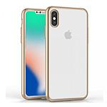 EVETANE Coque silicone souple transparente avec bumper or pour iPhone X
