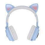 Casque Audio Bluetooth Design Oreilles Chat Animation lumineuse 12h - Violet