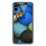 1001 Coques Coque silicone gel Apple iPhone X / XS motif Papillon galet bleu