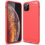 Lapinette Coque Souple en Gel Silicone pour Apple iPhone 11 Pro Carbone effet Brossé Rouge