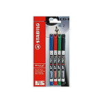 Stabilo Blister de 4 stylos feutre permanents Write-4-all pointe fine couleurs assorties