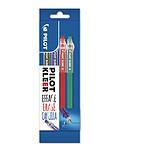 Pilot blister de 4 stylos bille Kleer pointe moyenne effaçable gomme intégrée, multicolore