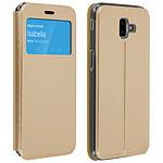 Avizar Etui folio Dorée Éco-cuir pour Samsung Galaxy J6 Plus