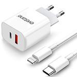 EVETANE Chargeur ultra rapide iPhone 12, 12 Pro, 12 Mini, 11, 11 Pro, XR, X, XS, XS Max, SE 2020, 8 Plus, 8 - Double Port 20 W avec Cable USB-C