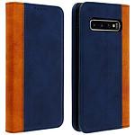 Avizar Etui folio Bleu Nuit Patiné pour Samsung Galaxy S10 Plus